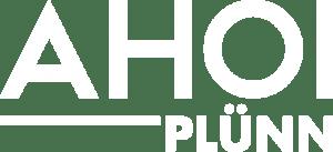 Das Logo von Ahpo Plünn in weiß