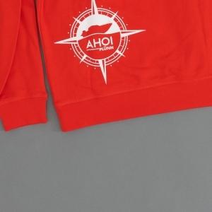 Ahoi Plünn Shop Legebild Hoodie in rot mit der Kompassrose von hinten