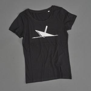 Ahoi Plünn Shopbild T-Shirt Frauen mit dem Schifffahrtszeichen 'Wrack' in schwarz