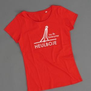 Ahoi Plünn Shop Legebild T-Shirt für Frauen mit dem Seezeichen 'Heulboje' in rot