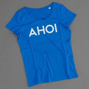 Das Frauen T-Shirt 'AHOI' in blau