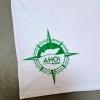 Das T-Shirt Notausgang von Ahoi Plünn von hinten mit grüner Plünnrose
